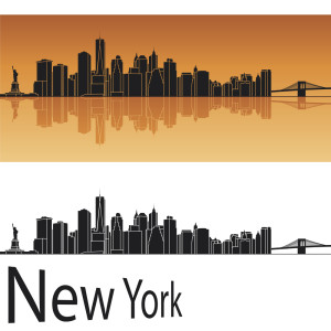 New York skyline in orange background in editable vector file